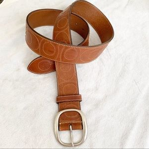 NWT Coach Embroidered C Brown Leather Belt M